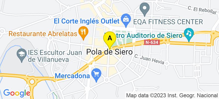 situacion en el mapa de . Direccion: Calle Pacita Vigil nº. 5 Entlo. Oficina A, 33510 Siero. Asturias