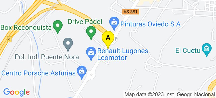situacion en el mapa de . Direccion: Avenida de Oviedo 10, 33003 Oviedo. Asturias