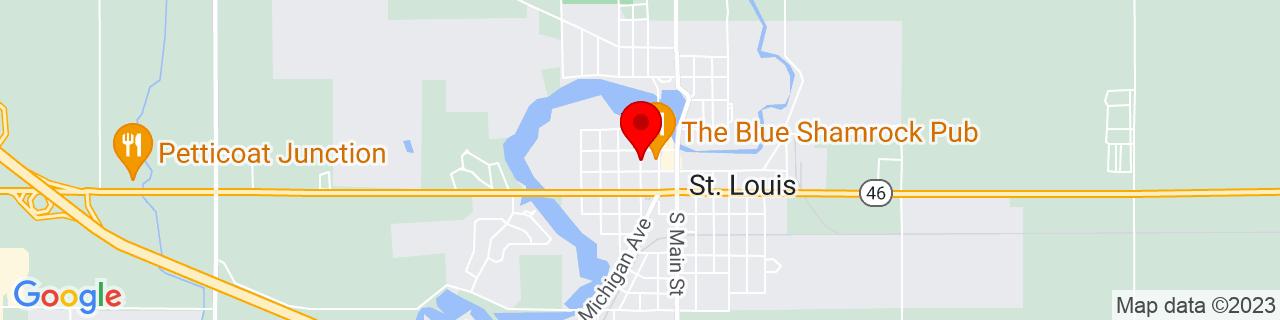 Google Map of 43.4098753, -84.6102938