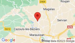 Carte de localisation du centre de contrôle technique Thézan les Béziers