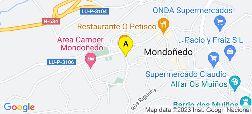 situacion en el mapa de . Direccion: C/ Marina Mayoral, nº 3, 1º D, 27740 Mondoñedo. Lugo
