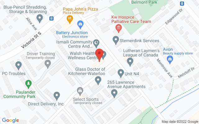 Walsh Health & Wellness Centre Static Google Map Wide Version