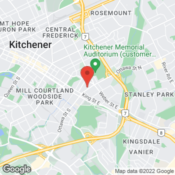 Map of Tim Hortons at 120 Ottawa St, Kitchener, ON N2H 3K4