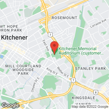 Map of Tim Hortons at 400 East Ave, Kitchener, ON N2H 1Z6