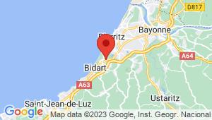 Carte de localisation du centre de contrôle technique BIDART