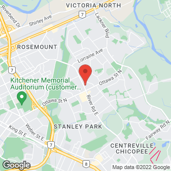 Map of Tim Hortons at 1020 Ottawa St, Kitchener, ON N2A 3Z3