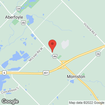 Map of Tim Hortons at 1 Nicholas Beaver Rd, Puslinch, ON N0B 2J0