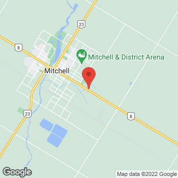 Map of Tim Hortons at 235 Ontario Rd, Mitchell, ON N0K 1N0