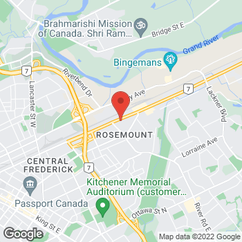 Map of Arby's at 971 Victoria St N, Kitchener, ON N2B 3C6