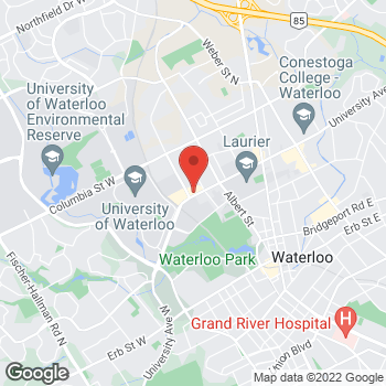 Map of Burger King at 150 University Ave West, Waterloo, ON N2L 3E4