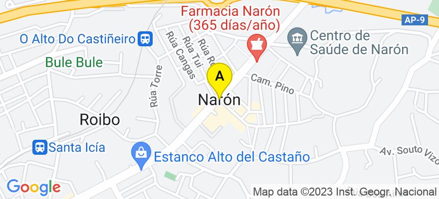situacion en el mapa de . Direccion: ARENA76, Avd. Vicente Risco, Pol. de la Gándara, 15570 Narón. A Coruña