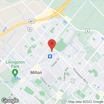 Map of Tim Hortons at 820 Main St E, Milton, ON L9T 0J4
