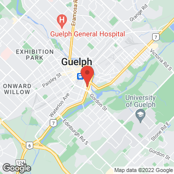 Map of Tim Hortons at 28 Wellington St East, Guelph, ON N1H 3R8