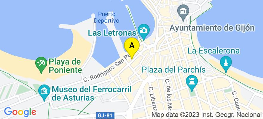 situacion en el mapa de . Direccion: Calle Marqués de San Esteban nº 1, 5º of 8, 33206 Gijón. Asturias