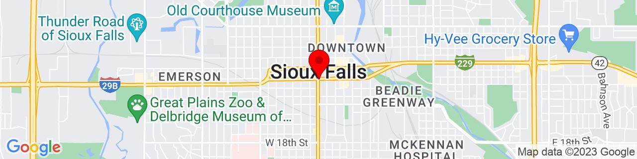 Google Map of 43.5445959, -96.73110340000001