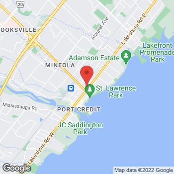 Map of Tim Hortons at 150 Lakeshore Rd East, Mississauga, ON L5G 1E9