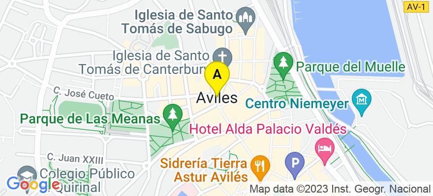 situacion en el mapa de . Direccion: Calle Gonzalez Abarca 13, E2, Oficina 1 (Edificio Maspalomas), 33401 Avilés. Asturias