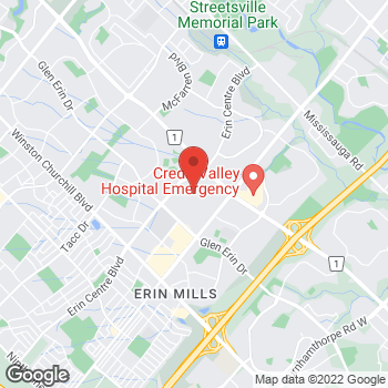 Map of Tim Hortons at 5100 Erin Mills Parkway, Mississauga, ON L5M 4Z5