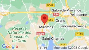 Carte de localisation du centre de contrôle technique MIRAMAS