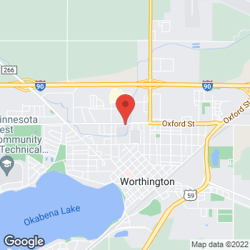 Map of Pizza Ranch at 1132 Oxford Street, Worthington, MN 56187