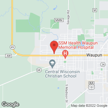 Map of Pizza Ranch at 900 W Main St, Waupun, WI 53963