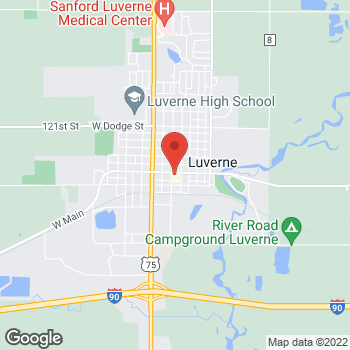Map of Pizza Ranch at 110 E Main St, Luverne, MN 56156