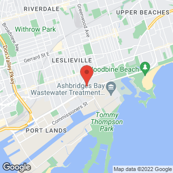 Map of Tim Hortons at 731 Eastern Ave, Toronto, ON M4M 3H6