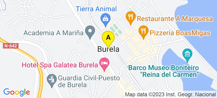 situacion en el mapa de . Direccion: C/ O Río, 9 Entresuelo 2, 27880 Burela. Lugo