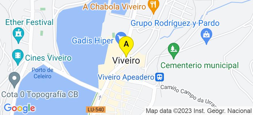 situacion en el mapa de . Direccion: Avda. de Ferrol, 17, Ent. E, 27850 Viveiro. Lugo