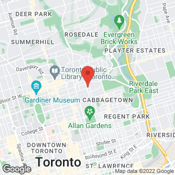 Map of Tim Hortons at 555 Sherbourne Street, Toronto, ON M4X 1W7