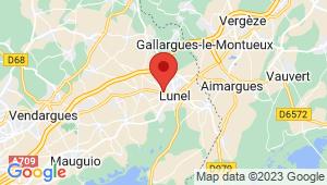 Carte de localisation du centre de contrôle technique LUNEL