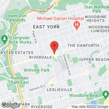 Map of Wendy's at 975 Danforth Avenue, Toronto, ON M4J 1M1