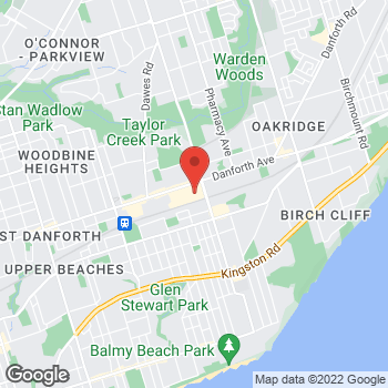 Map of Staples Print & Marketing Services at 3003 Danforth Avenue, Toronto, ON M4C 1M9