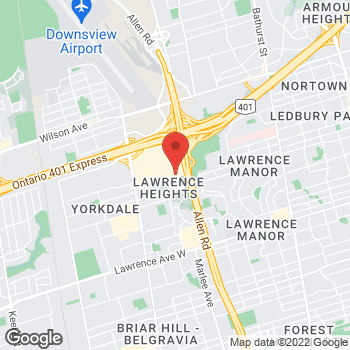 Map of LensCrafters at 3401 Dufferin Street, Toronto, ON M6A 2T9