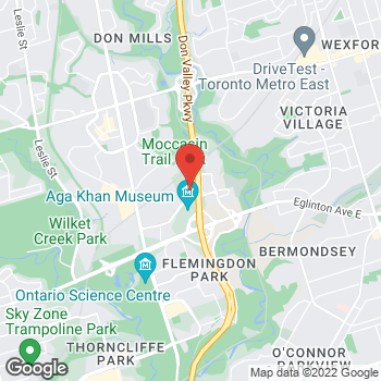 Map of Tim Hortons at 100 Wynford Dr, Toronto, ON M3C 4B4