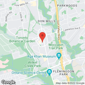 Map of Tim Hortons at 1050 Don Mills Rd, North York, ON M3C 1W6
