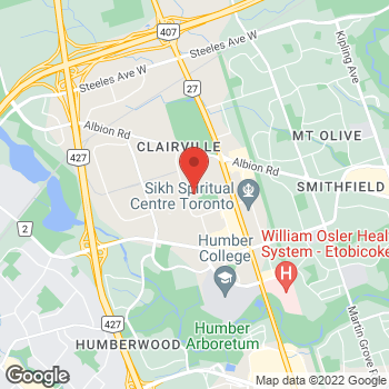 Map of Tim Hortons at 110 Carrier Dr, Etobicoke, ON M9W 5R1