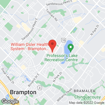 Map of Tim Hortons at 2100 Bovaird Dr E, Brampton, ON L6R 3J7