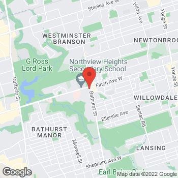 Map of Tim Hortons at 4926 Bathurst St, North York, ON M2R 1N2