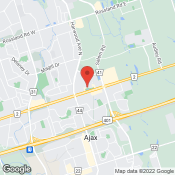 Map of GUESS Factory at 90 Kingston Rd E, Ajax, ON L1Z 1G1