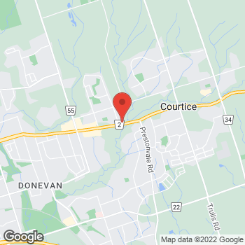 Map of Tim Hortons at 1502 Durham Highway 2, Courtice, ON L1E 3H6