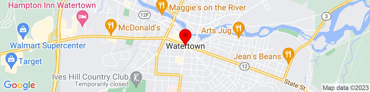 Google Map of 43.974722222222226, -75.91083333333334