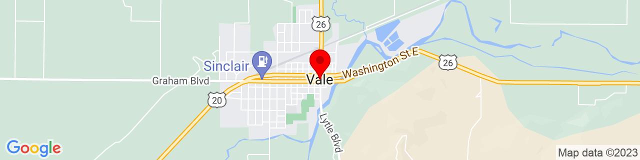 Google Map of 43.9821055, -117.2382311
