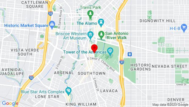 Google Map of 434 S Alamo St., San Antonio, TX 78205
