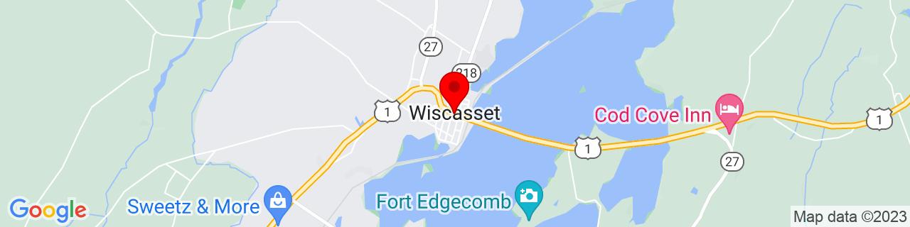 Google Map of 44.00277777777778, -69.66555555555556