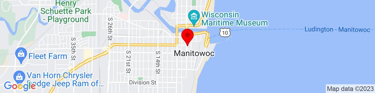 Google Map of 44.08861111111111, -87.6575
