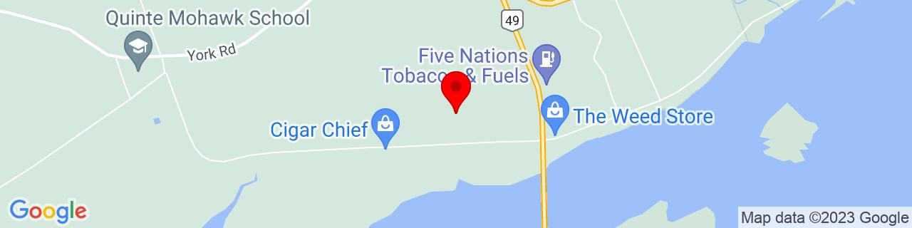 Google Map of 44.181863888888884, -77.0972861111111