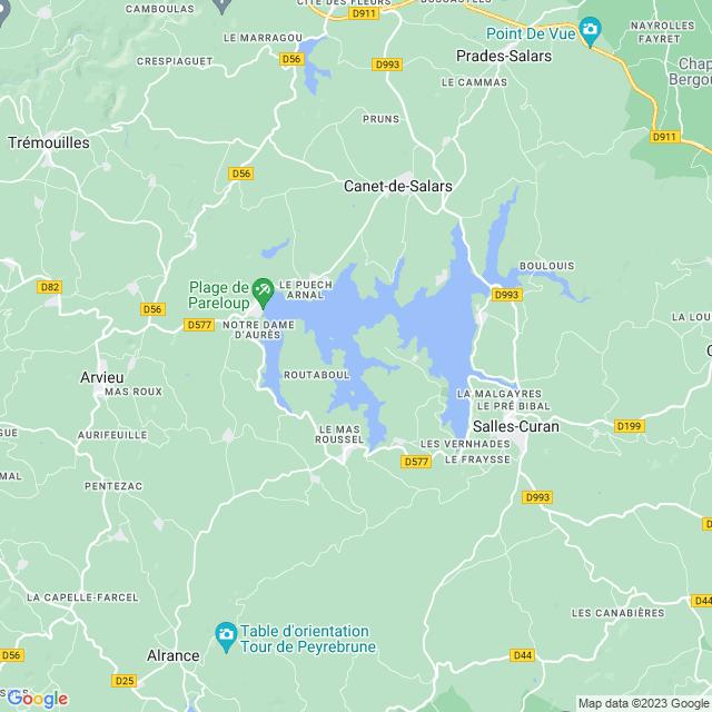 Locatie Lac de Pareloup