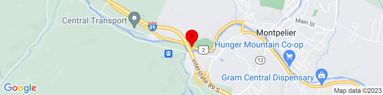 Google Map of 44.25702709999999, -72.59966210000002