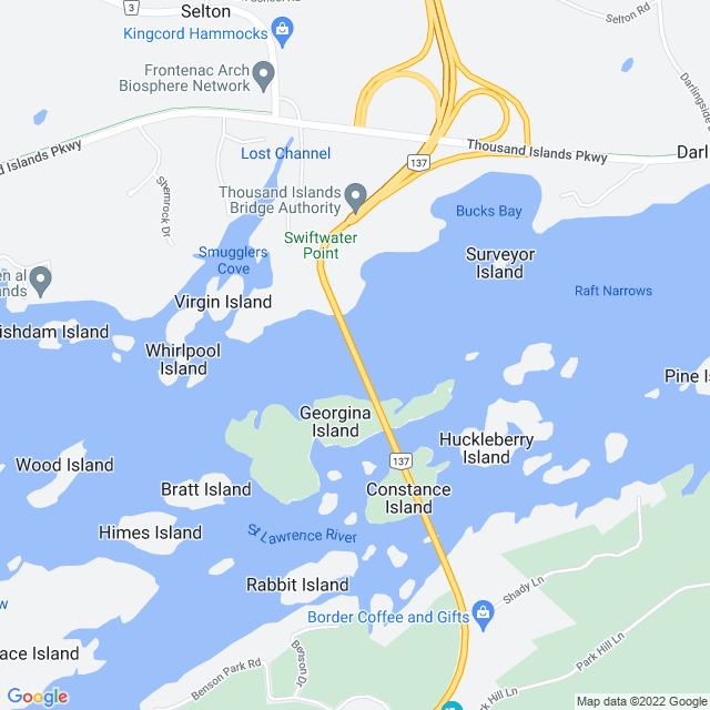 Map of Thousand Islands Bridge